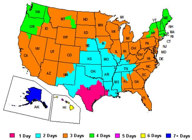 FedEx Ground Service Map - Origin 78413